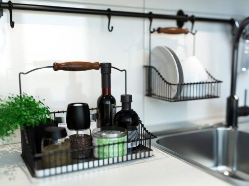 Ikea wire baskets w bottom tray hang or free Ikea hanging kitchen storage