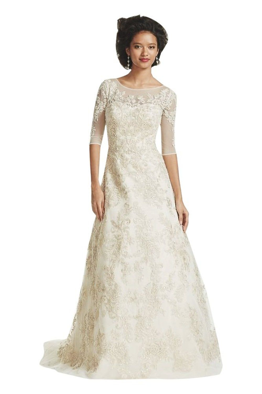 Tulle Oleg Cassini 3/4 Sleeve Lace Wedding Dress Style CWG630 at ...