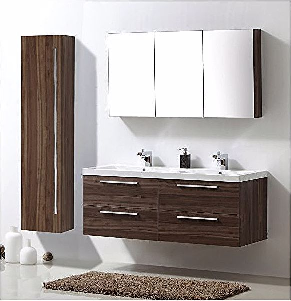 Meuble De Salle De Bain R1442l Armoire De Toilette Meuble Mural Double Vasque Et Meuble Sous Vasque Noyer Fonce B In 2020 Armoire Bathroom Vanity Printables Kids