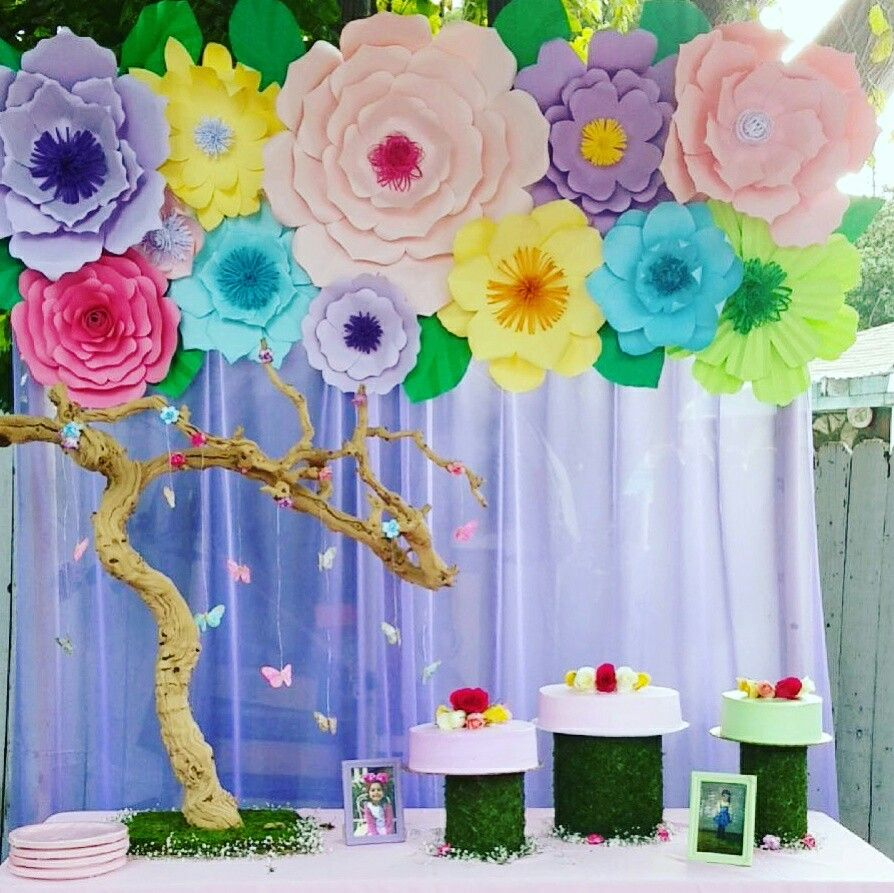 Garden theme party paper flower backdrop butterfly for Backdrop decoration for birthday
