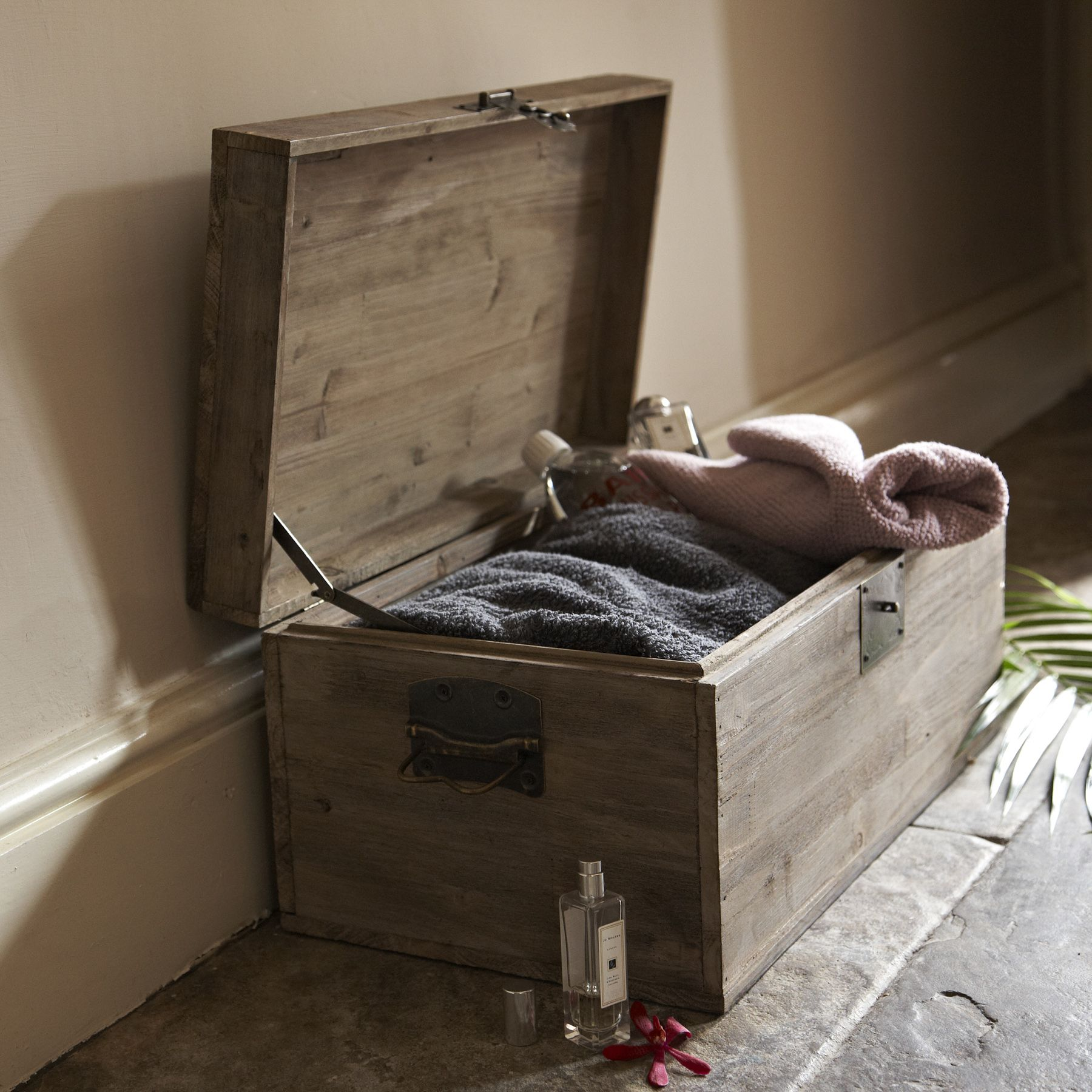 Large Aged Wooden Storage Trunks  Use For Tossing Bed Pillows
