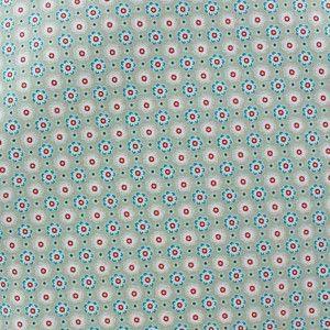 Tissu enduit coton Poppy Ornaments Petites fleurs taupe x 10cm