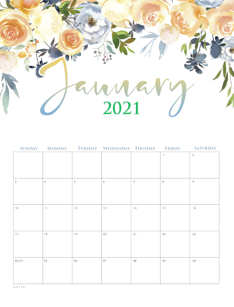 January Printable Calendar 2021 Cute Planner Monthly Etsy In 2020 Monthly Calendar Printable Calendar Printables Calendar Template