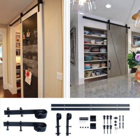 10 Ft Sliding Door Hardware Kit Arrow Style Sliding Barn Door Hardware Barn Wood Door Track Wheel Kit Bla Wood Doors Sliding Barn Door Hardware Sliding Tracks