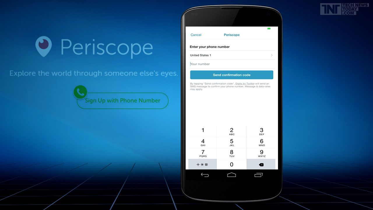 Twitter Allows Users To SignUp For Periscope With Just Their Phone Numbers