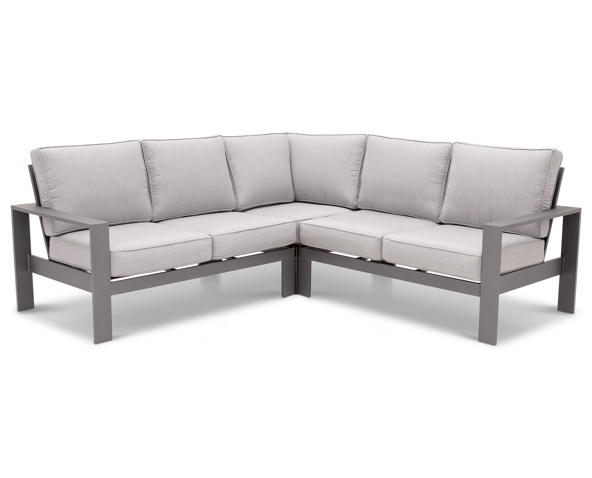 The Lugano 3 Piece Patio Sectional Brings Contemporary Style And Casual Comfort To Your Outdoor Living E In A Durable Light Gray Sunbrella Fabric