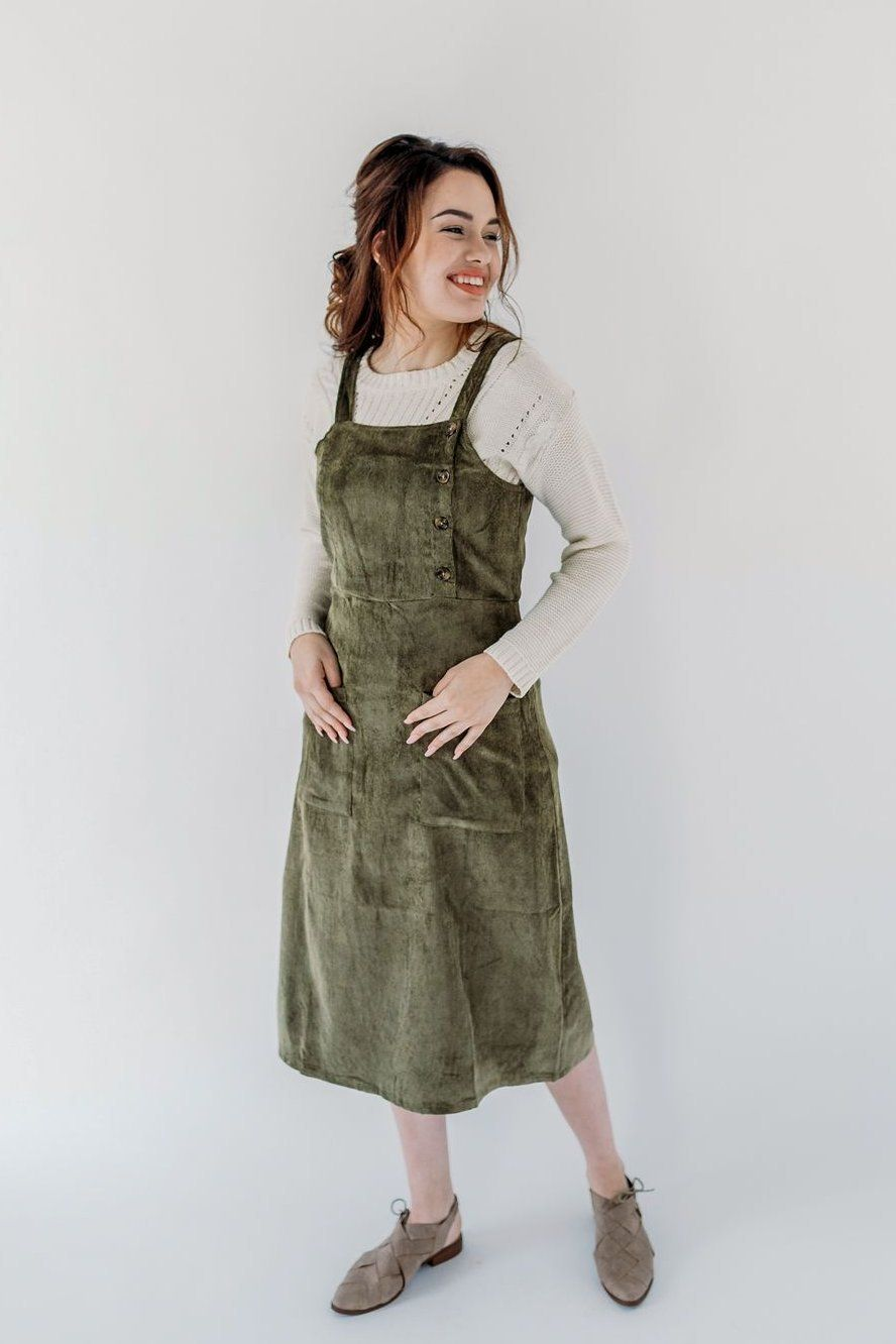 470c7d0e543  Samantha  Corduroy Jumper in Olive – The Main Street Exchange.