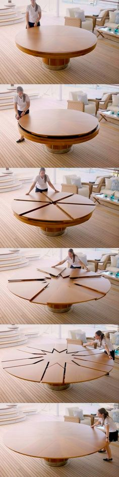 The general folding table fold fanfold telescopic folding, but today described this folding round table can be folded along the radial direction. Winch table designed by David Fletcher, shaped like a ship on the winch, the unique structure of this table can be automatically or manually expand, providing more seats, and maintain circular unchanged. The table, which contains the extended hardware hardware when switching between the two modes, the table can be automatically positioned.