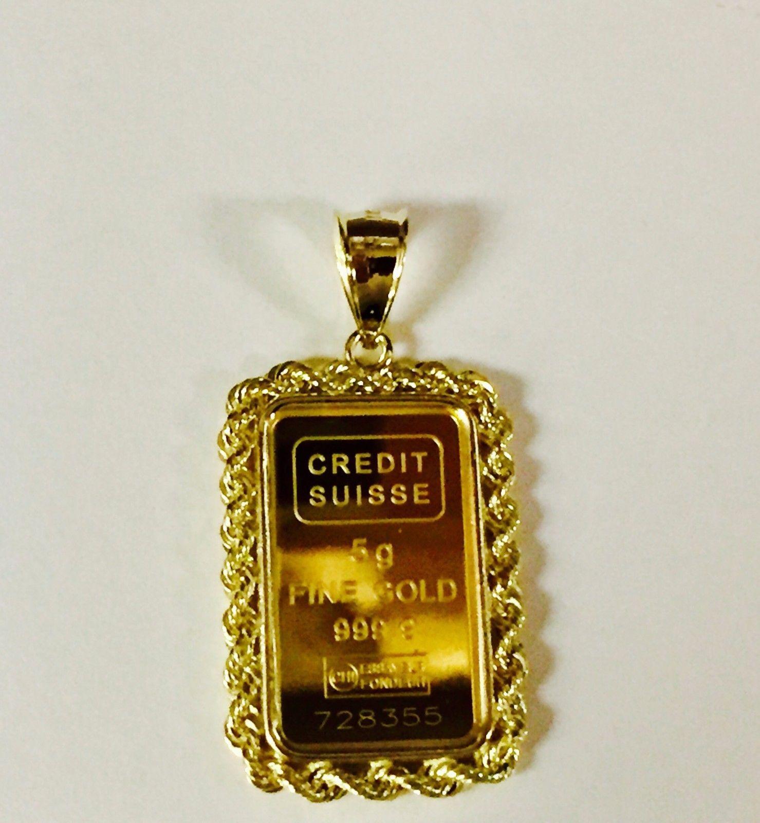 24k Fine Gold Credit Suisse 5gr Bullion Ingot 14k Framed Charm Rope Pendant Ingot Rope Pendant Gold