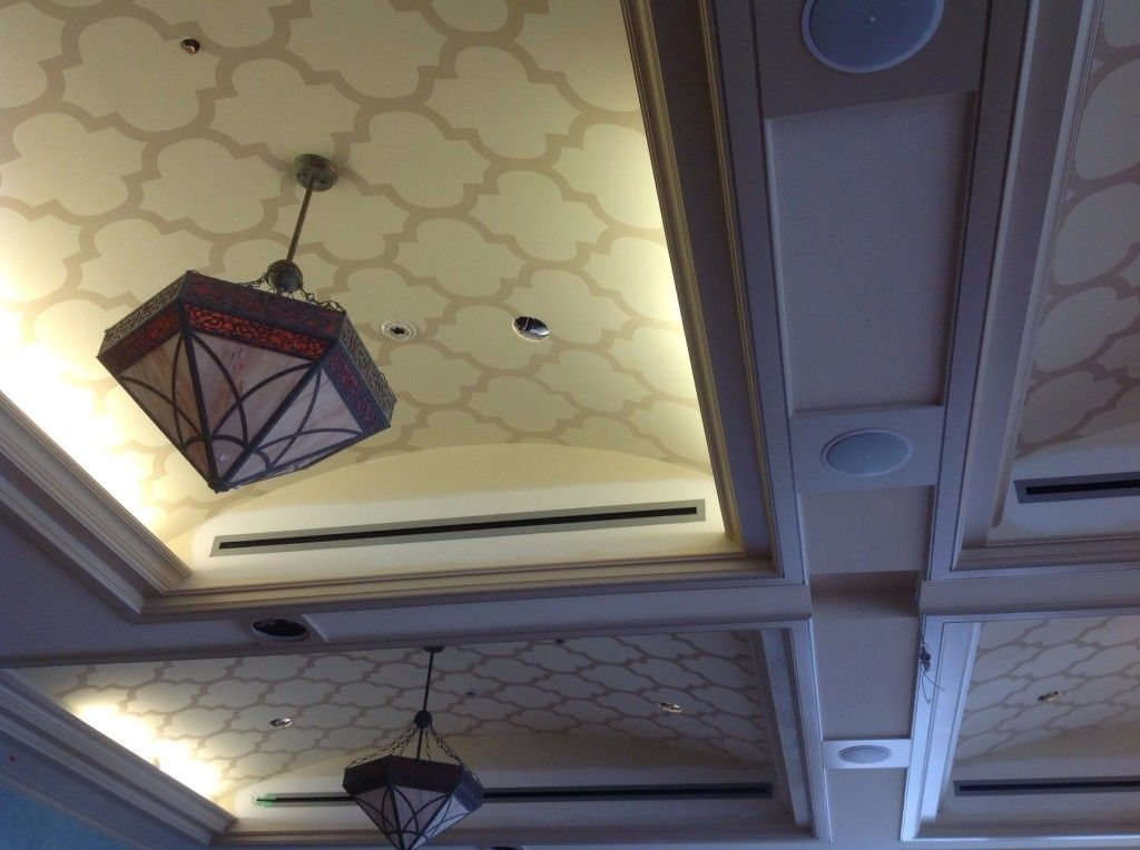 Modern Moroccan Trellis Design Painted On Ceiling With
