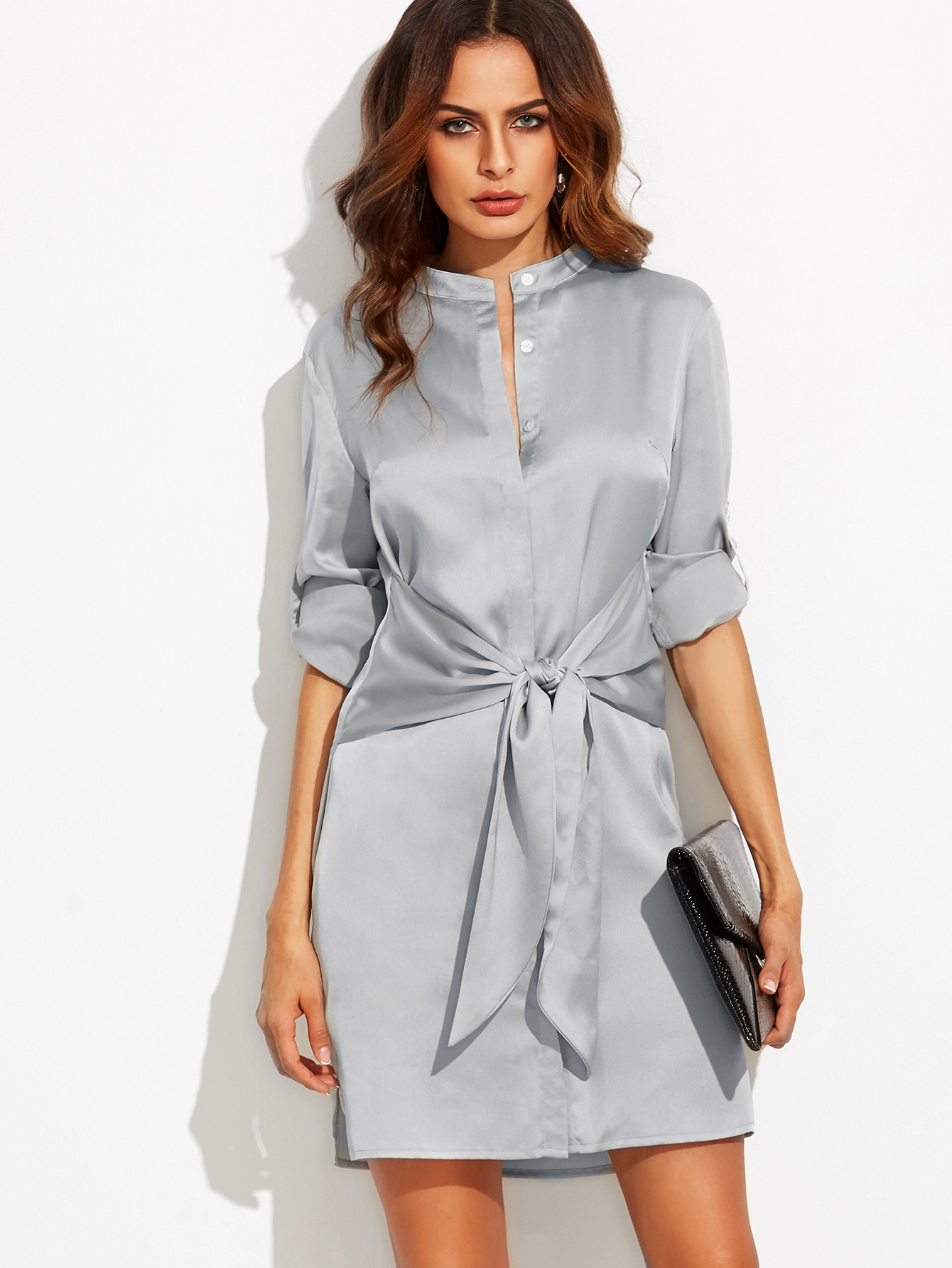 Silver roll up sleeve tie waist dress shops roll up sleeves and