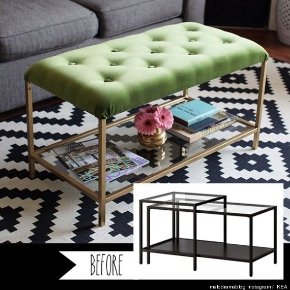 Bon Ikea Hack, Nesting Table To Ottoman. Great Little Stuffed Coffee Table
