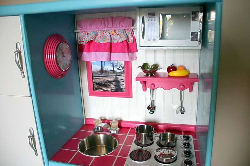childrens play kitchen out of entertainment center   Doubletake Decor: Play Kitchen Made From An Old Entertainment Center