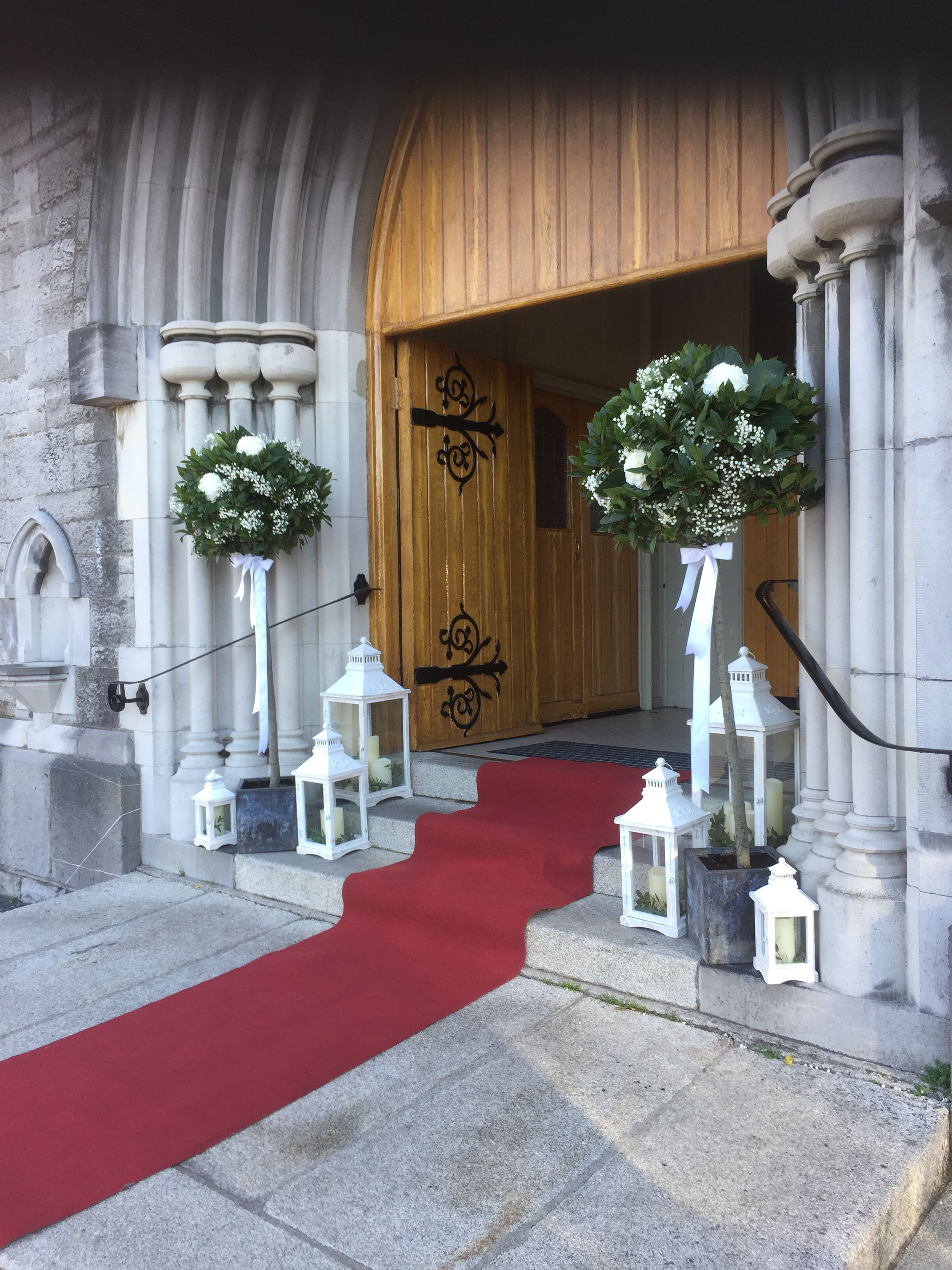 Church Entrance Decor Bay Tree S With Lanterns Wedding Entrance