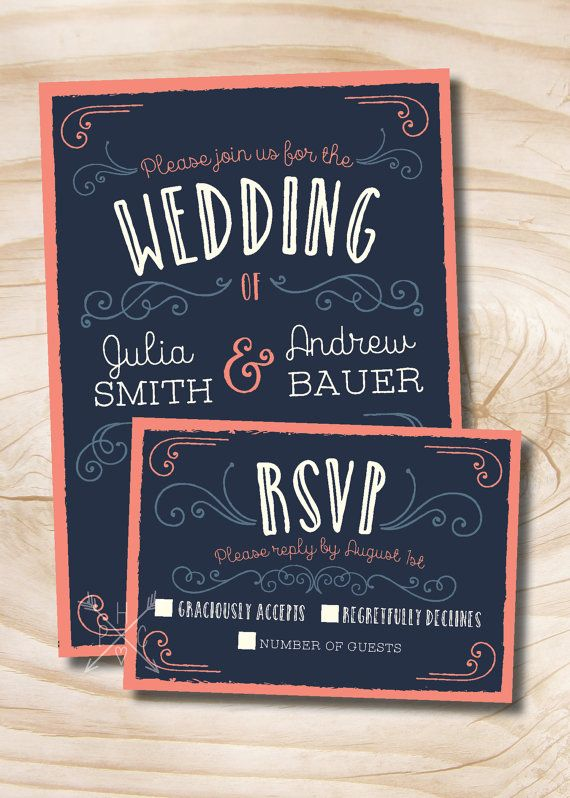 Navy And Coral Vintage Scroll Poster Style Rustic Wedding Invitation And  Response Card   Design Only