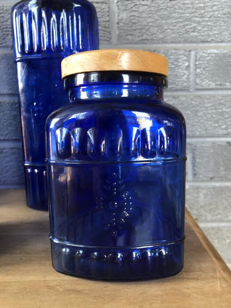 Cobalt blue glass canisters set of 4 french country