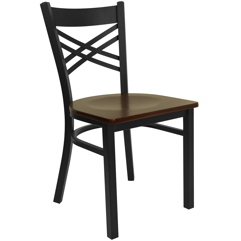 Black X Back Metal Restaurant Chair Mahogany Wood Seat Black