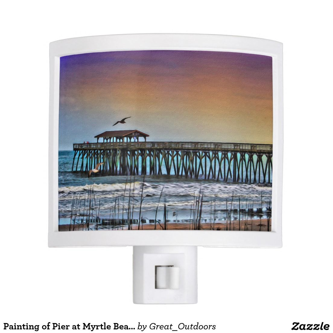Painting of Pier at Myrtle Beach Night Light Zazzle