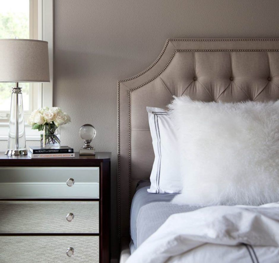 design ideas taupe bedroom with tufted headboard