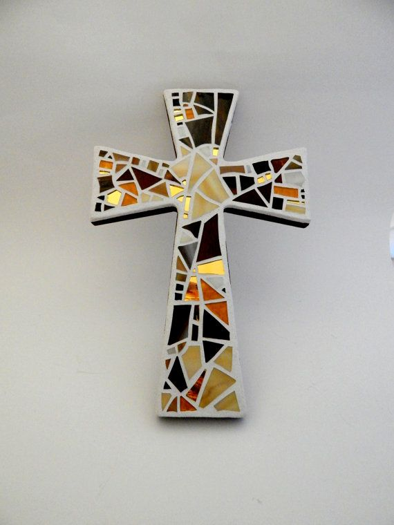 Mosaic Wall Cross, Multiple Shades of Brown + Gold, Handmade Stained Glass…