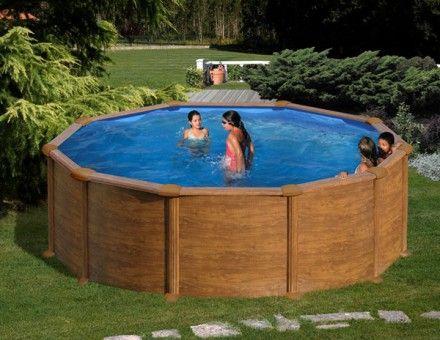Kit piscine hors sol acier ronde maldivas aspect bois for Piscine hors sol 6m diametre