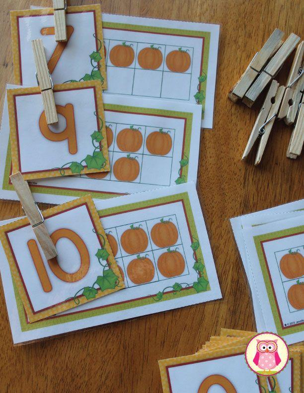 Pumpkin Math Activities: Five and Ten Frame Fun | Ten frame ...