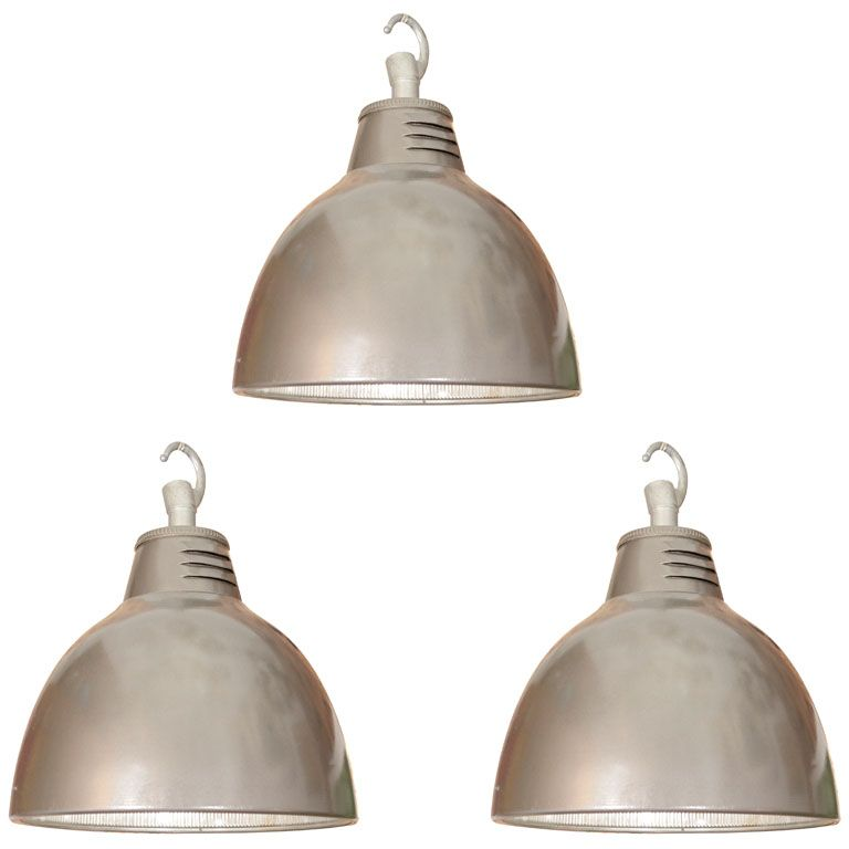 Set Of 3 French Holophane Industrial Pendant Lights