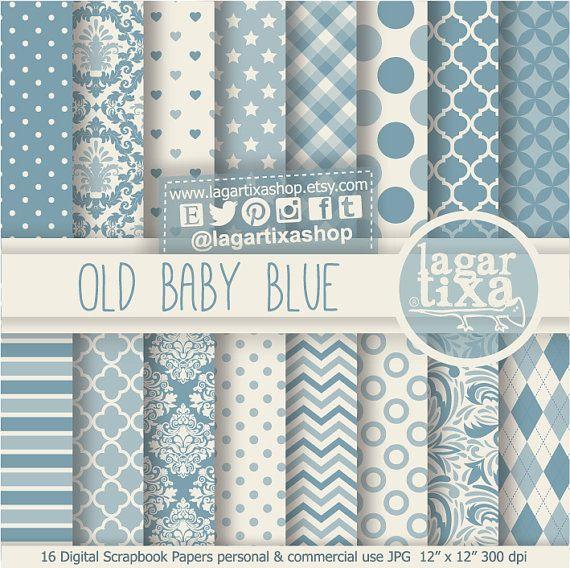 Blue Vintage Patterns Digital Paper Old Baby Blue Antique Etsy Digital Paper Digital Scrapbook Paper Gold Digital Paper