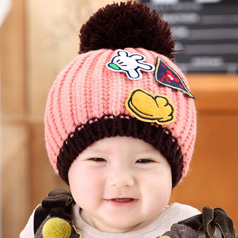 2b1212d27 Baby Winter Cap with Big Bobble and Palm Pattern; Kids Boys Girls ...