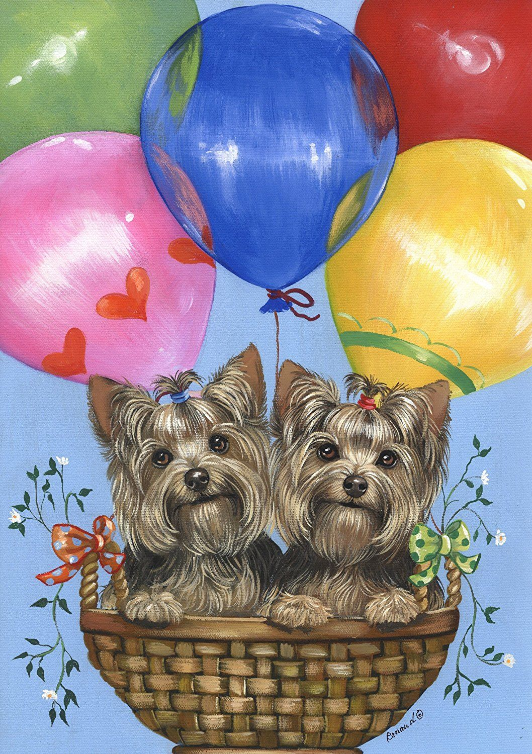 Yorkshire Terrier Balloons by Suzanne Renaud Tiere malen