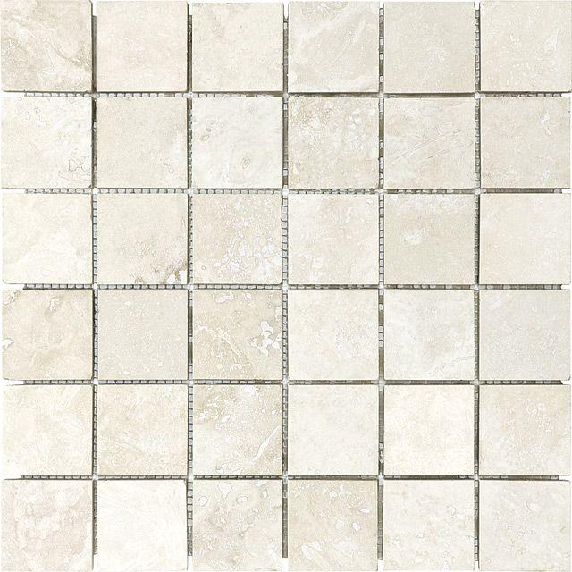 2 X 2 Ivory Travertine Mosaic Stone Mosaic Stone Tile Wall Travertine