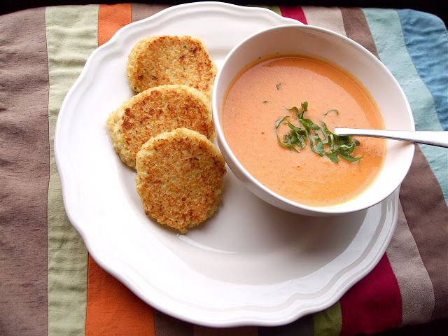Creamy Slow Cooker Tomato Soup with Cheesy Quinoa Dippers--used a little less butter and less half & half than it called for but still turned out good.  Didn't have time to make the quinoa dippers, served with grilled cheese.