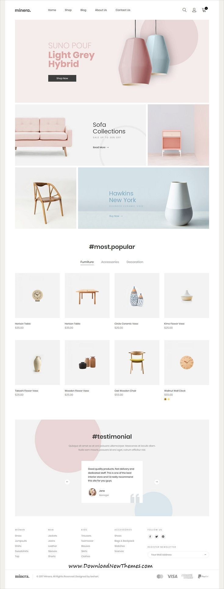 Minera is a clean, minimalist and modern design responsive #Shopify #template for beautiful online #shop eCommerce #website with 10+ niche homepage #layouts to download & live preview click on image or Visit