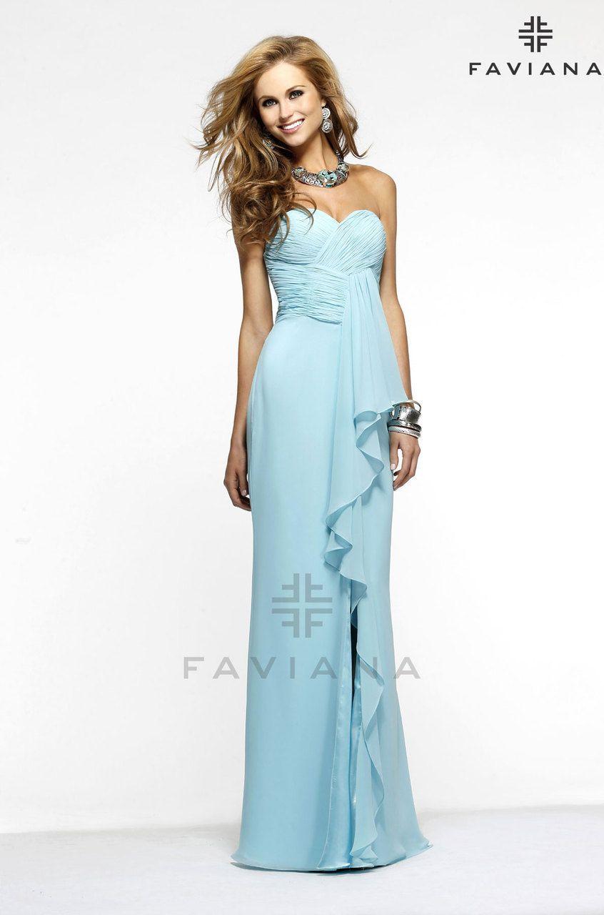 Bella Mera Bridal Boutique - Faviana Dress Style  7306  - Strapless Chiffon - Ruched Bodice - Ruffle,   (http://www.bellamerabridal.com/faviana-dress-style-7306-strapless-chiffon-ruched-bodice-ruffle/)