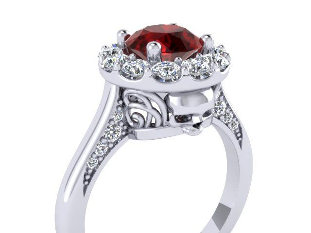 Bloody Valentine Secret Skull Engagement Ring Solid Slver with 1.25 ct Red Ruby rd center-UDINC0320 by UntilDeathInc.com