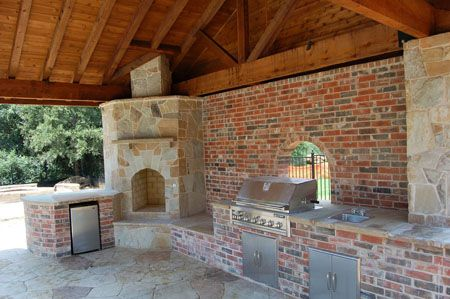 Love The Gabled Roof Outdoor Fireplace Without Not