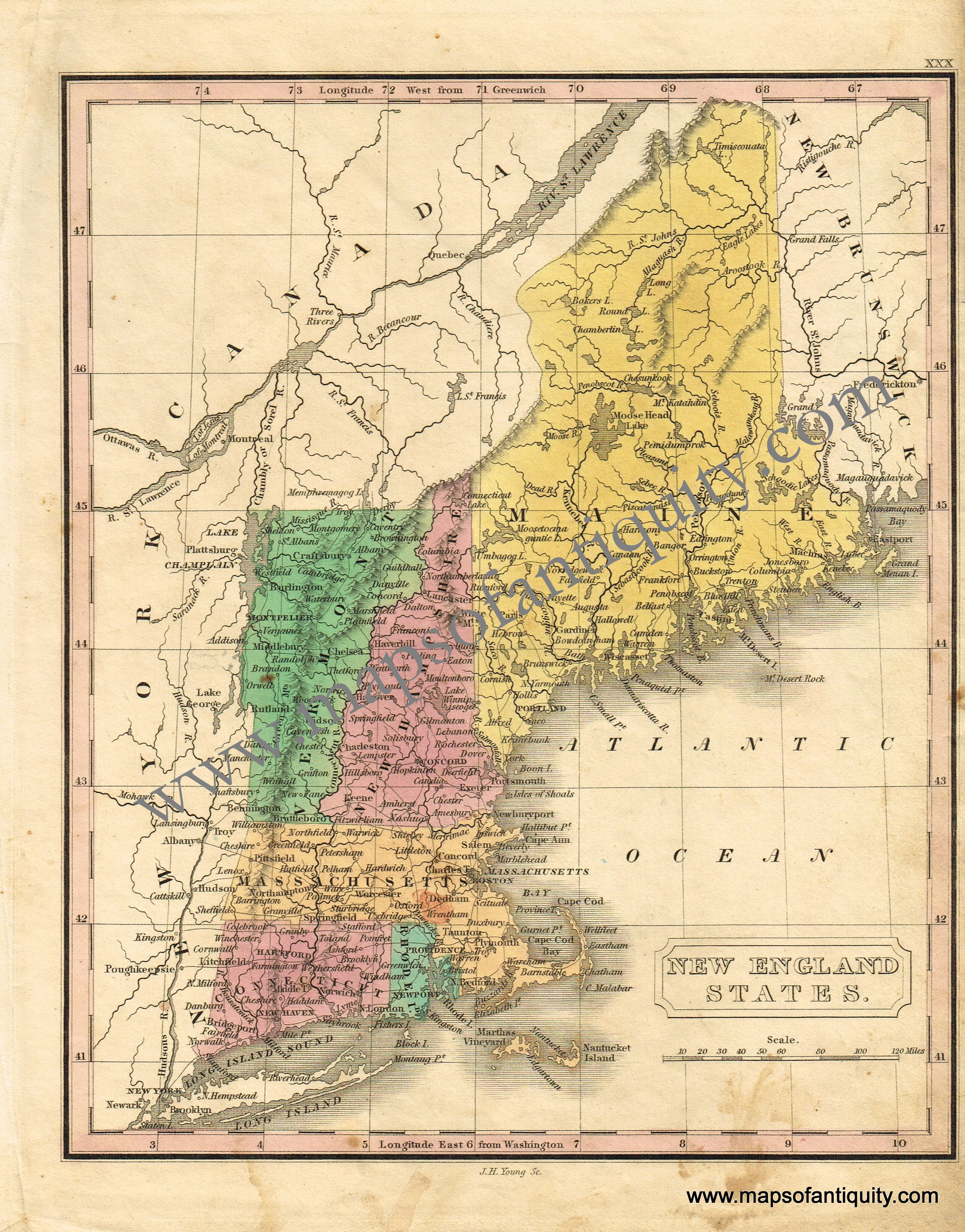 New England States Antique Maps And Charts Original Vintage Rare Historical Prints Reproductions Of