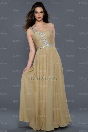 A-Line/Princess Sweetheart One Shoulder Floor-length Chiffon Evening Dresses - IZIDRESSES.com at IZIDRESSES.com