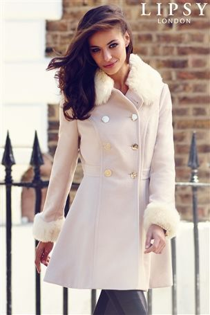 Lipsy Faux Fur Trim Princess Coat - lovely bow detail on the back ...