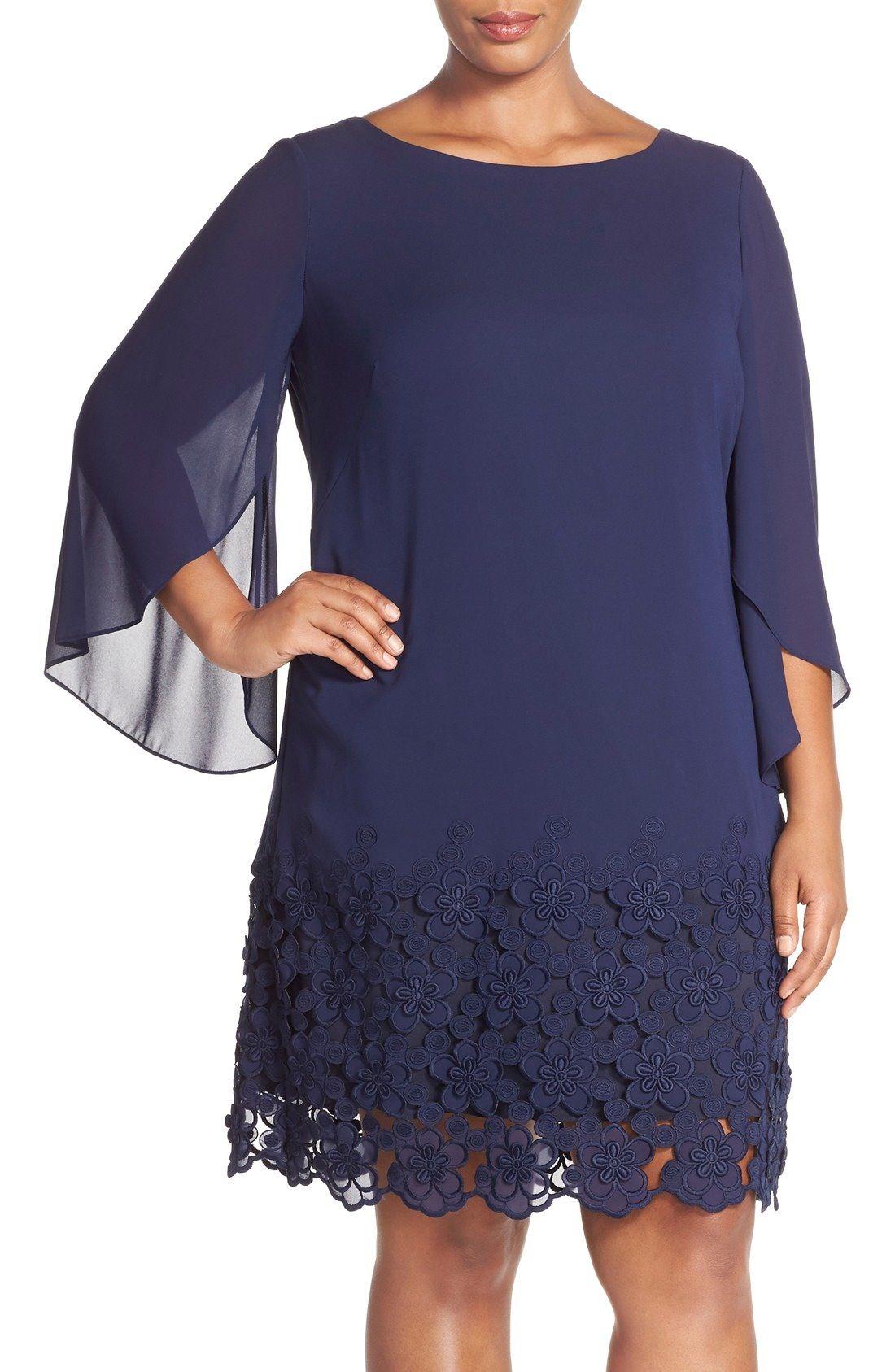 c1380fa4ffe3e Tahari Lace Hem Tulip Sleeve Chiffon Shift Dress (Plus Size) available at  #Nordstrom
