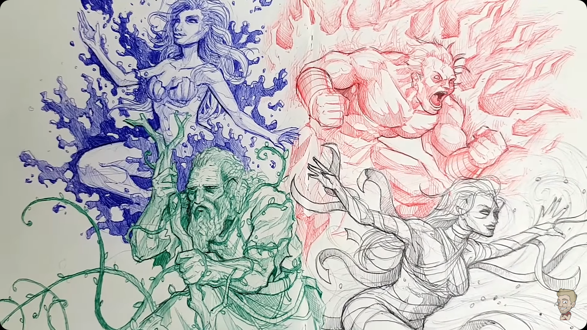 The Four Elementals Josiah Brooks A K A Jazza Ballpoint Pen On Paper