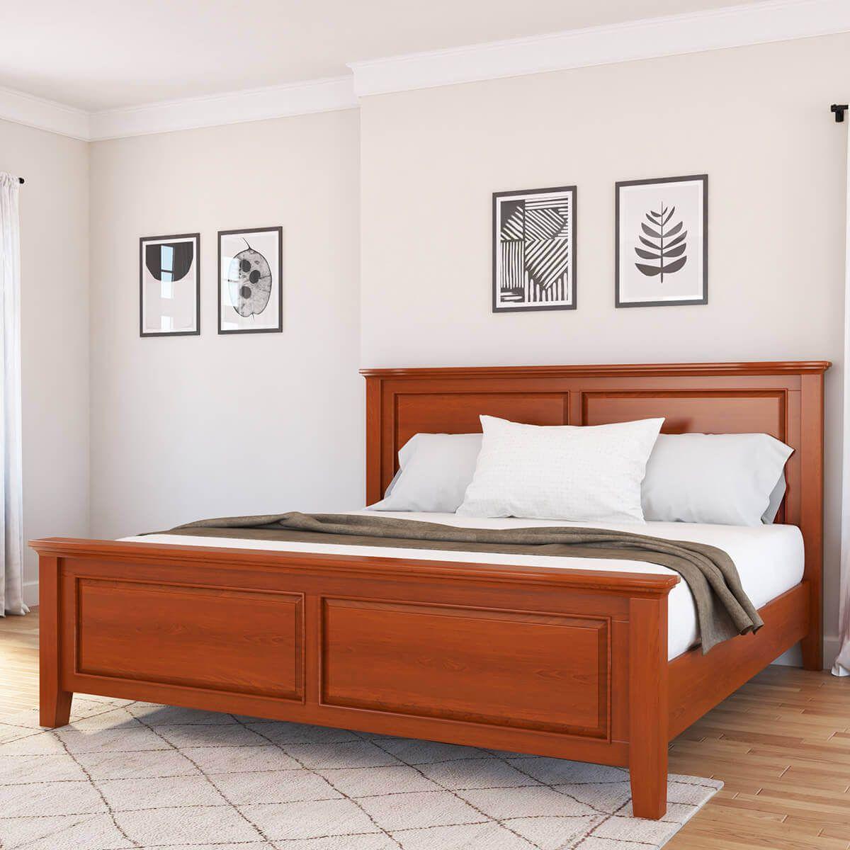 Kristoff Solid Mahogany Wood Platform Bed Wood Platform Bed Wooden Bed Design Bedroom Furniture Design