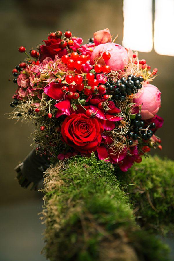 Herbstliches Rustikales Rot Blumenstrauss Hochzeit Blumenschmuck Hochzeit Hochzeit Herbst