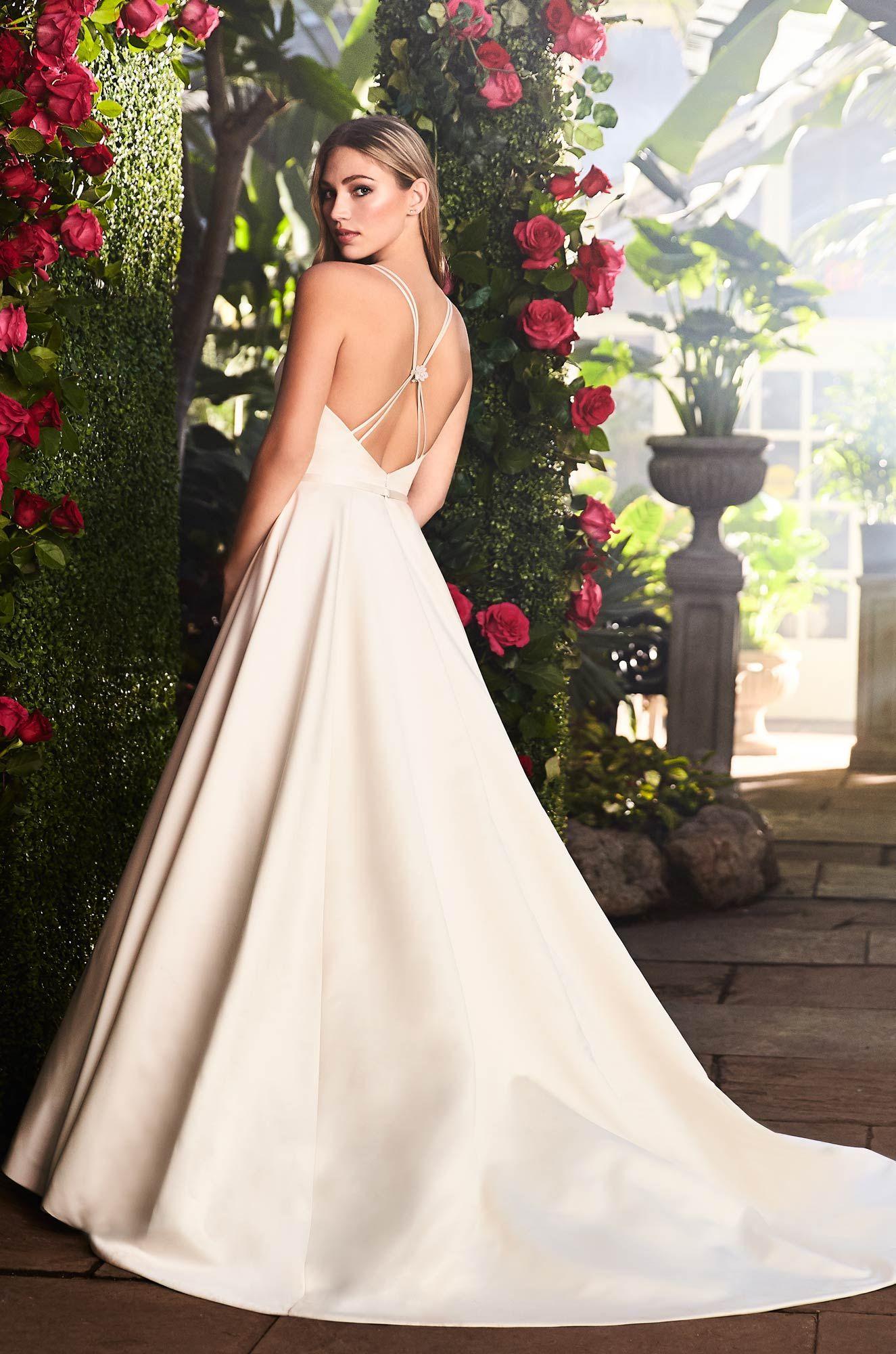 Spaghetti Strap Vneckline Satin Aline Wedding Gown With