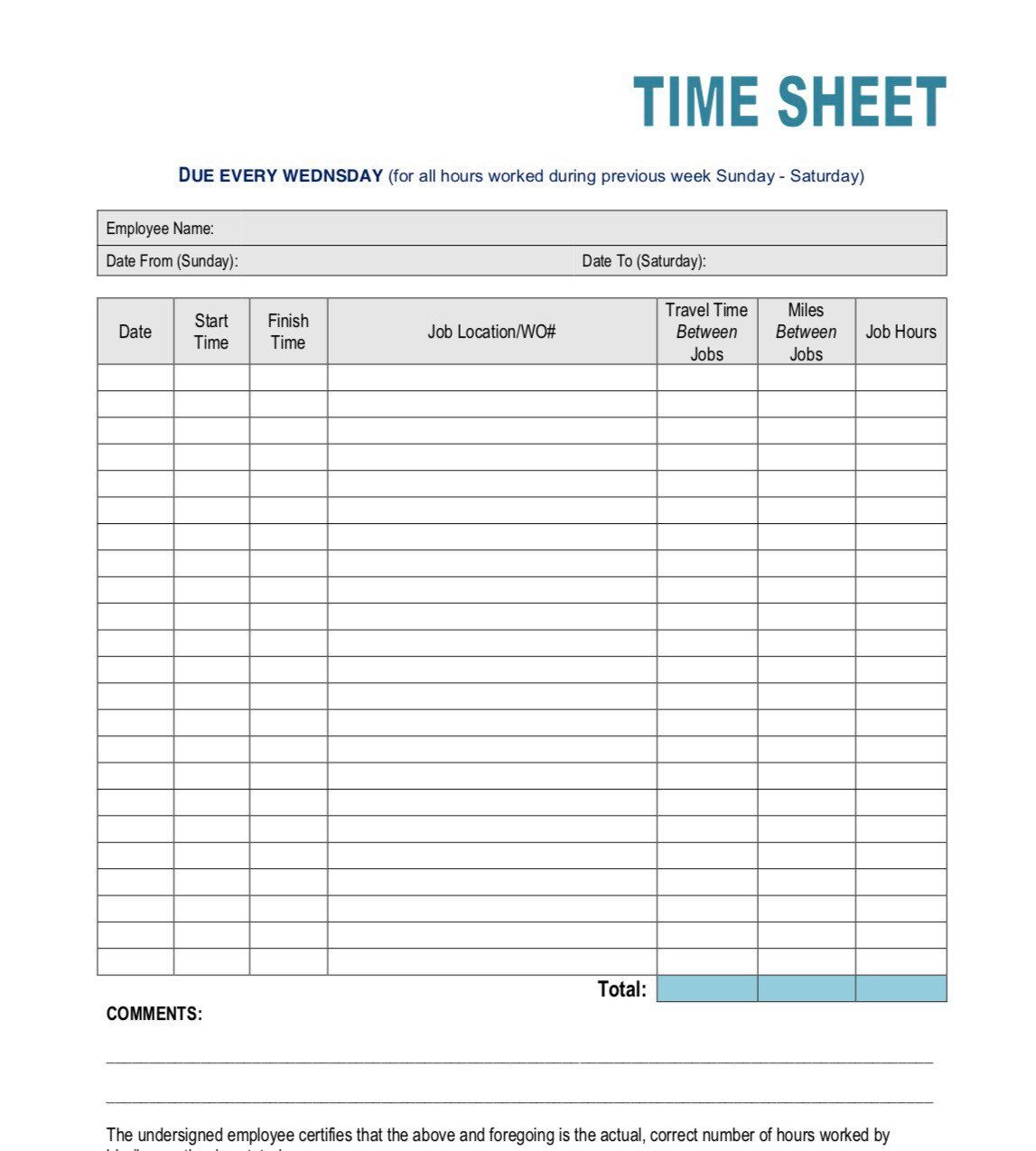 Simple Time Sheet