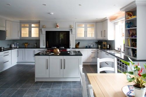 Kitchen White Cupboards Black Bench Grey Floor White Splashback White Shaker Kitchen Kitchen Cabinets Kitchen Flooring