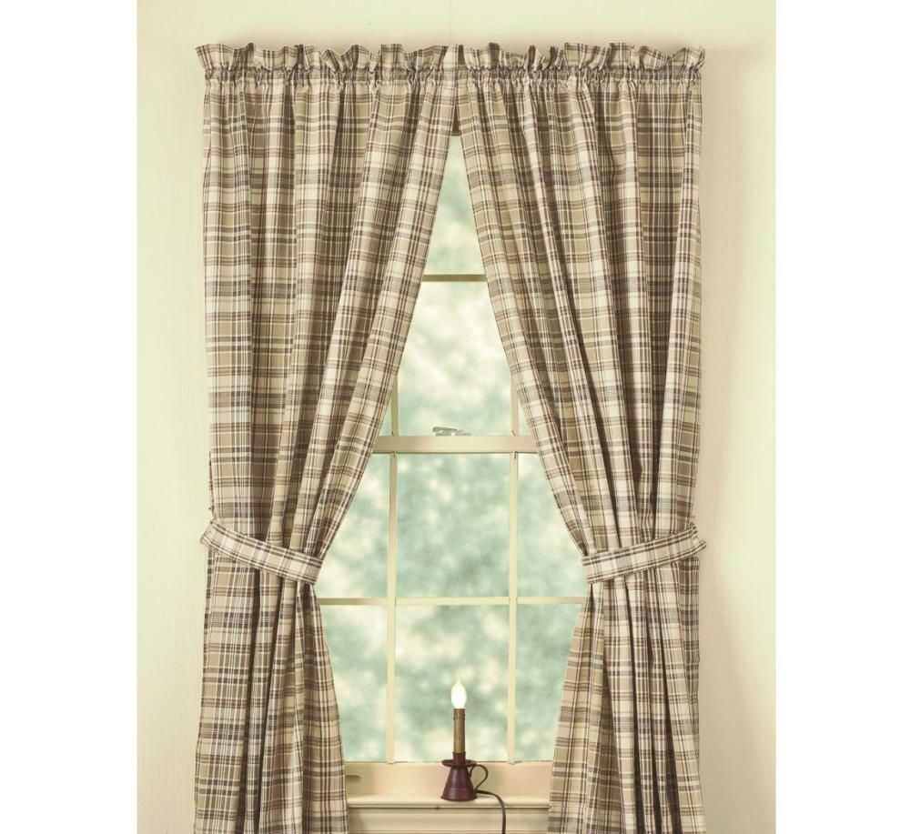Ebay Sponsored Country Thyme Lined Panel Curtains 72wx84l Burgundy Green Tan Ivory Plaid Cotton Panel Curtains Park Designs Living Room Shop