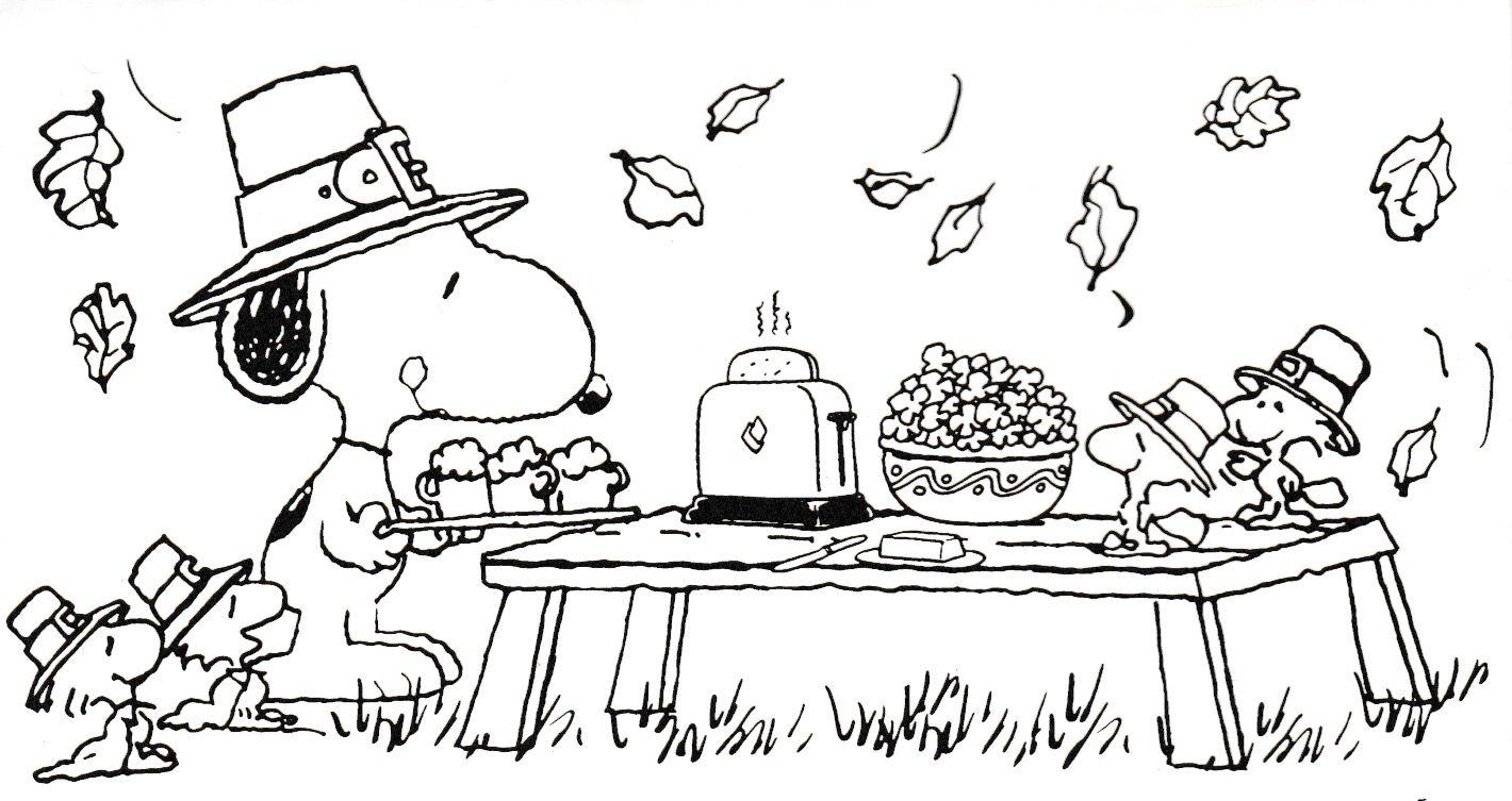 Snoopy Thanksgiving coloring sheet Thanksgiving coloring