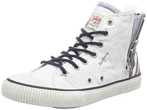 Pepe Jeans London INDUSTRY JACK ZIP, Jungen Hohe Sneakers, Weiß (801FACTORY WHTE), 33 EU - http://on-line-kaufen.de/pepe-jeans/33-eu-pepe-jeans-industry-jack-zip-jungen-hohe