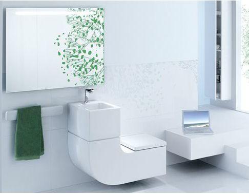 """Pia e sanitário integrados em forma """"L"""" Projeto #ecodesign byr Roca. Economia de água e espaço. O sistema de recarga filtra a água da cuba para reutilização na descarga do sanitário."""